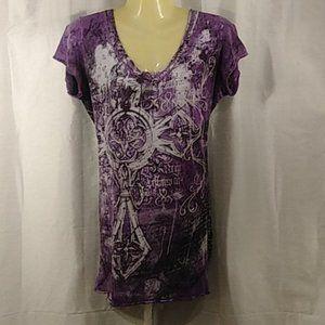 Affliction purple t-shirt laces down back